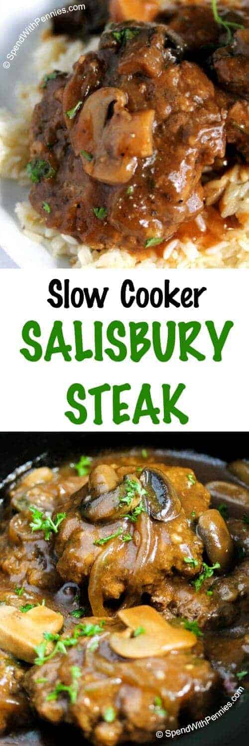 Slow Cooker Salisbury Steak with a title