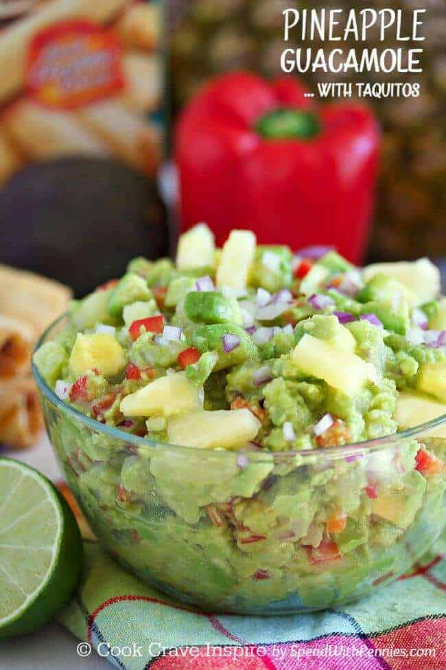 Red pepper behind Pineapple Guacamole with lime