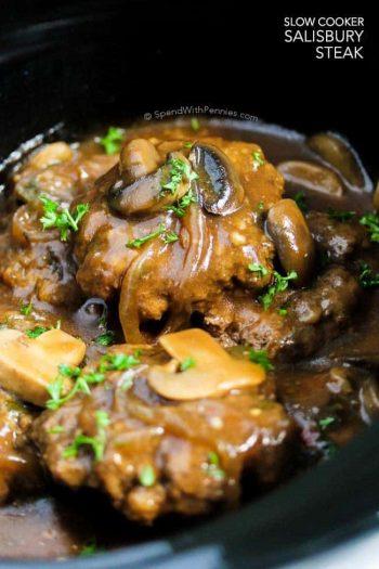 Salisbury Steak in a black crock pot with text