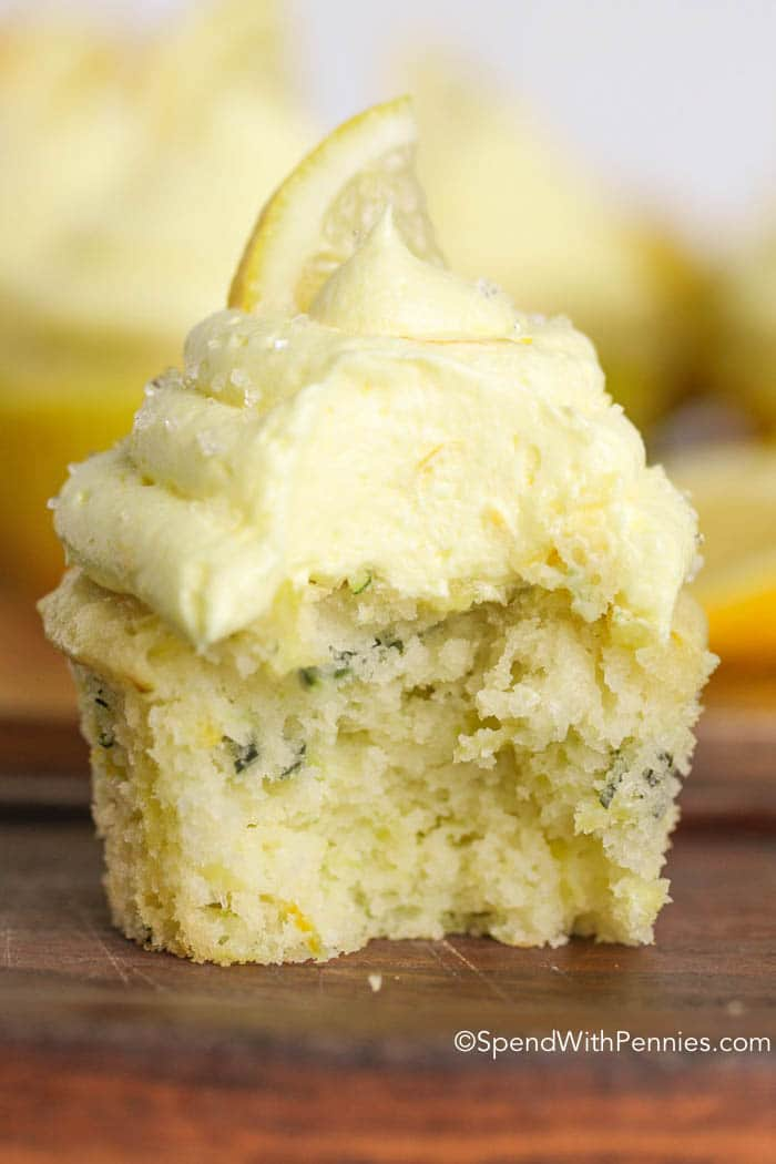 zucchini lemon cupcake with bite taken out