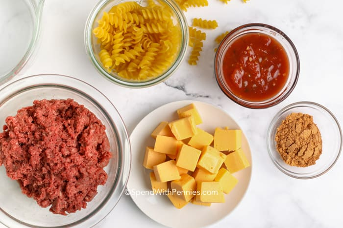 Ingredients for Cheesy taco skillet on the counter in bowls