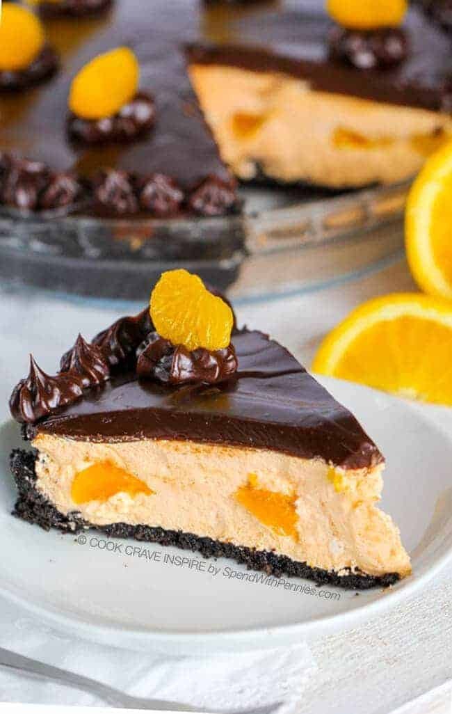 Chocolate Orange Pie! (This is my favorite pie)! This easy no bake dessert starts with an Oreo cookie crust filled with a fluffy orange fill and is topped with a rich chocolate ganache!