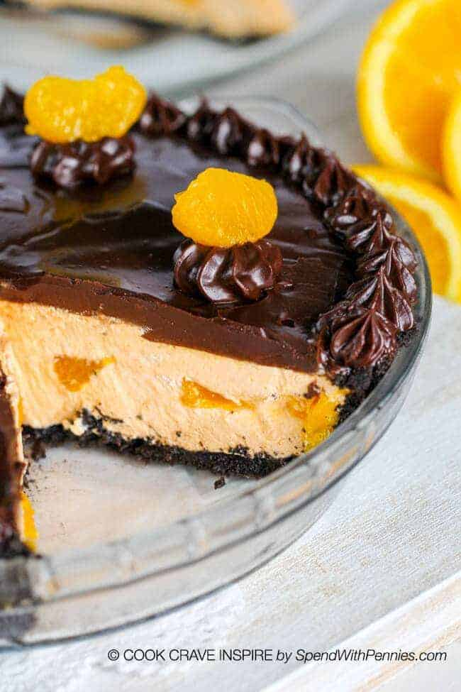 Chocolate Orange Pie with a slice out of it