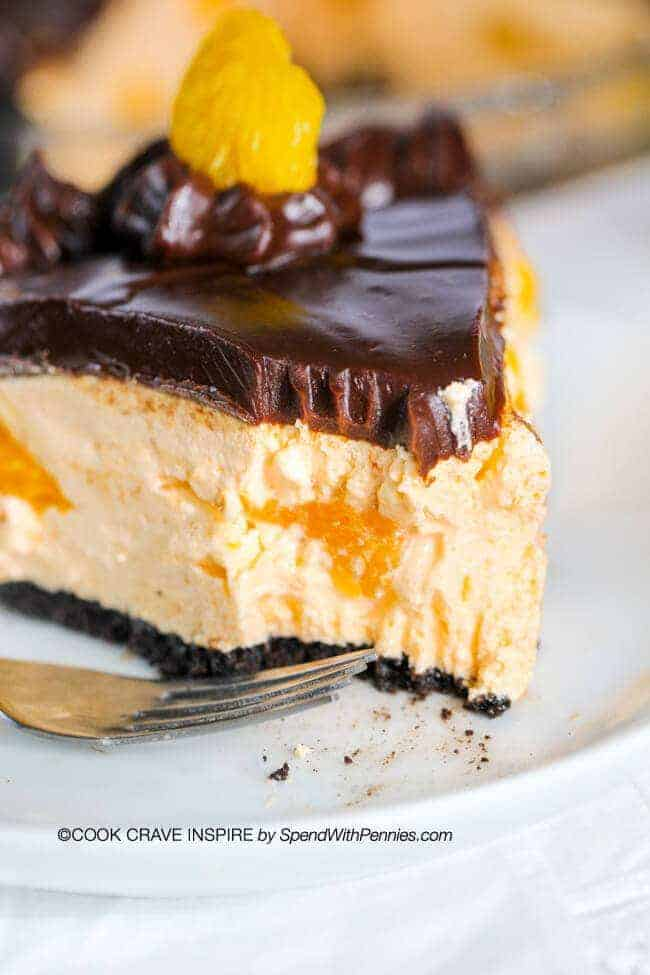 Chocolate Orange Pie with a bite out of it