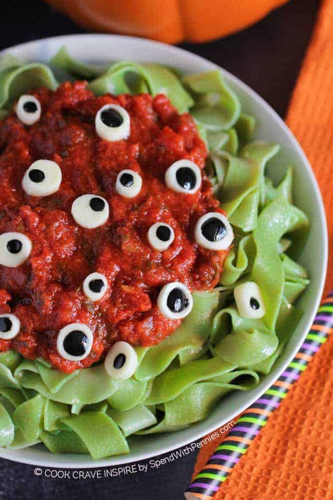 Eyeball pasta halloween dinner idea spend with pennies for Cool food ideas for kids