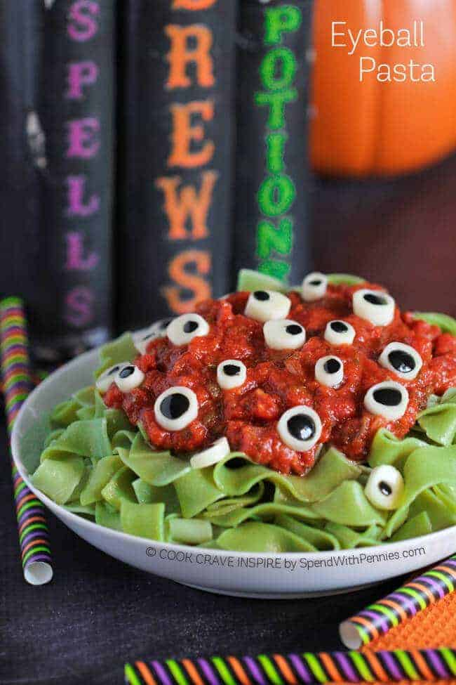 Eyeball Pasta (Halloween Dinner Idea) - Spend With Pennies