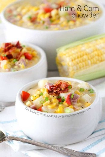 Ham and corn chowder with bacon in white bowls