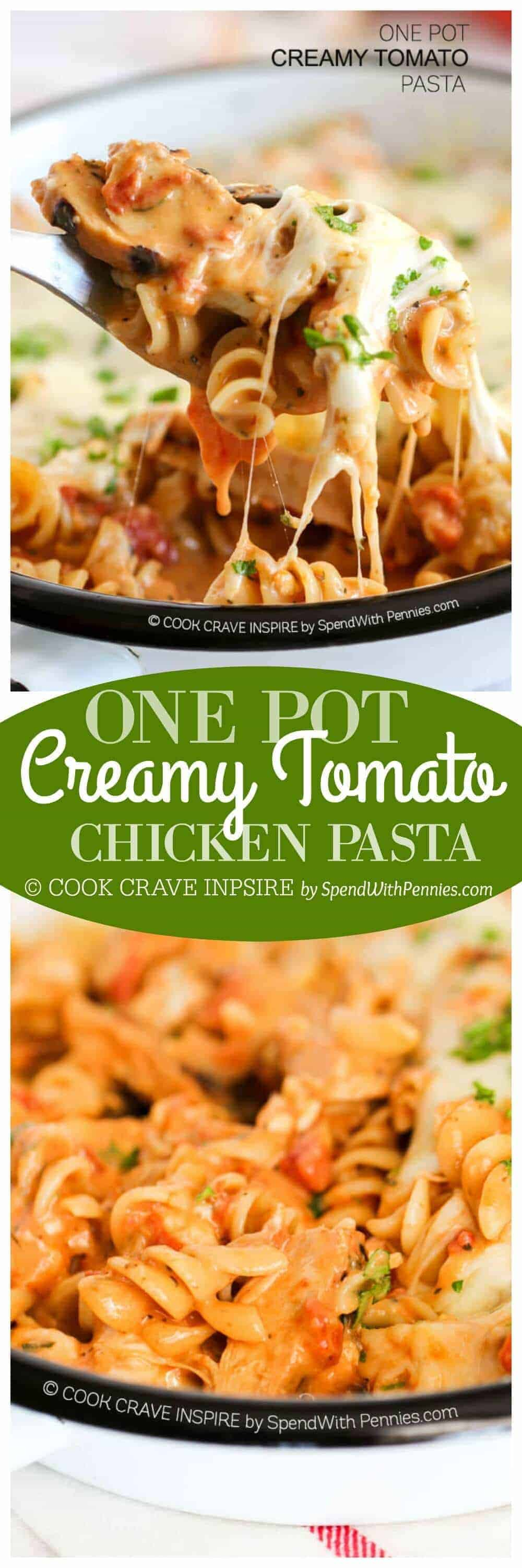 One Pot Pasta Creamy Tomato with rotini with a title