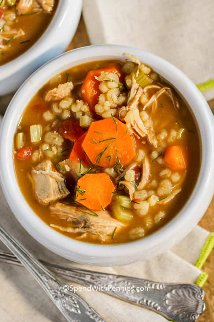 Chicken barley soup with veggies ready to serve!
