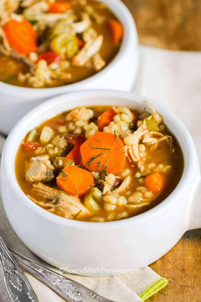 Chicken Barley Soup in white bowl