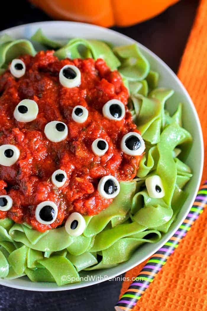 Overhead shot of Eyeball Pasta in a white bowl