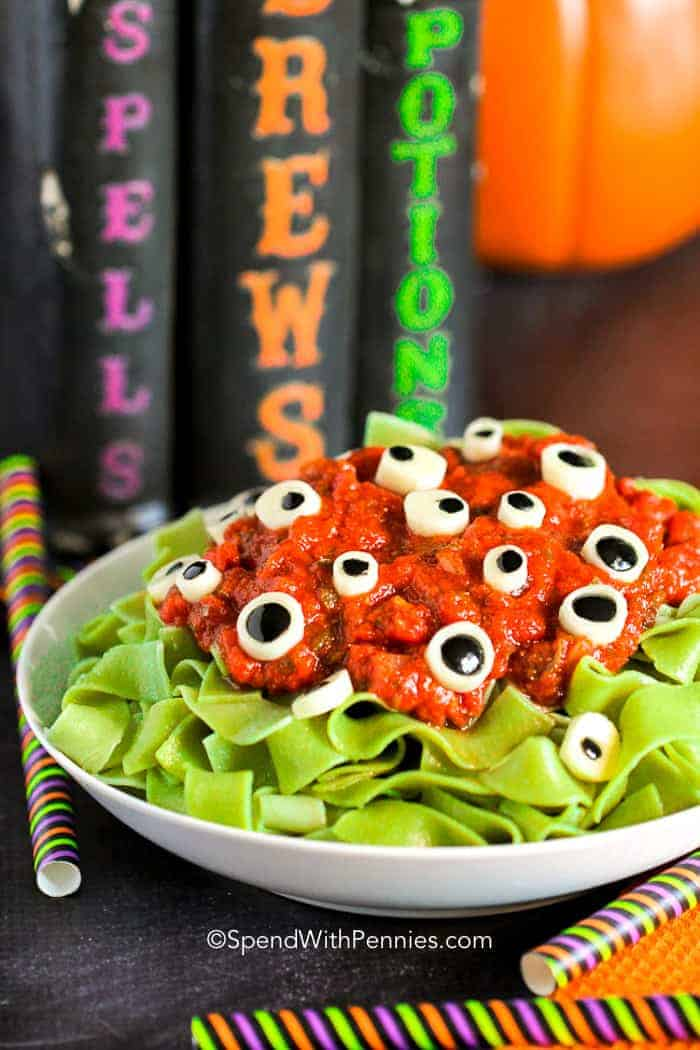 Eyeball Pasta in a white bowl