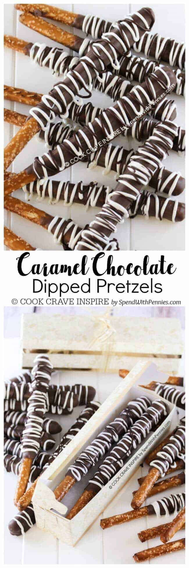 caramel dipped pretzels covered in chocolate with a title