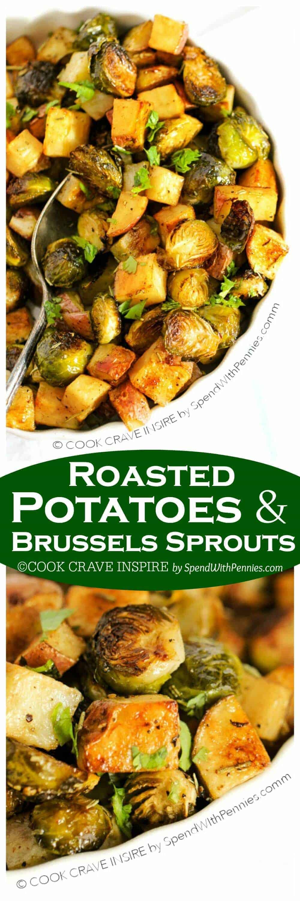 Roasted Potatoes and Brussels Sprouts with a title