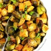 Roasted Potatoes and Brussels Sprouts in a bowl with a spoon