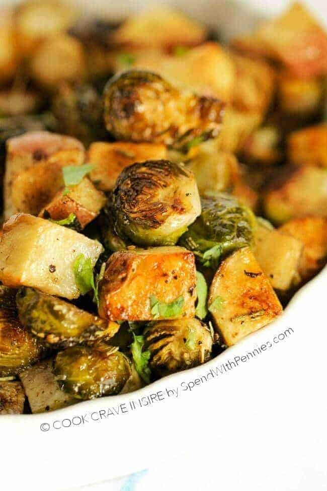 Roasted Potatoes and Brussels Sprouts in a bowl