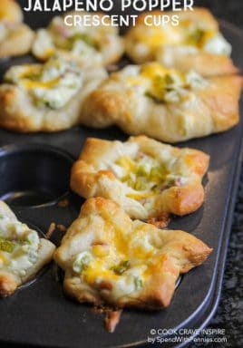 Jalapeno Popper Crescent cups are the hit of every party and so easy to make! These creamy, cheesy and spicy little two-bite appetizers bake in minutes! #spendwithpennies #easyappetizer #easyrecipe #jalapenopoppers #crescentrecipe #partyfood #gamedayrecipe #dinnerpartyappetizer #twobiteappetizer