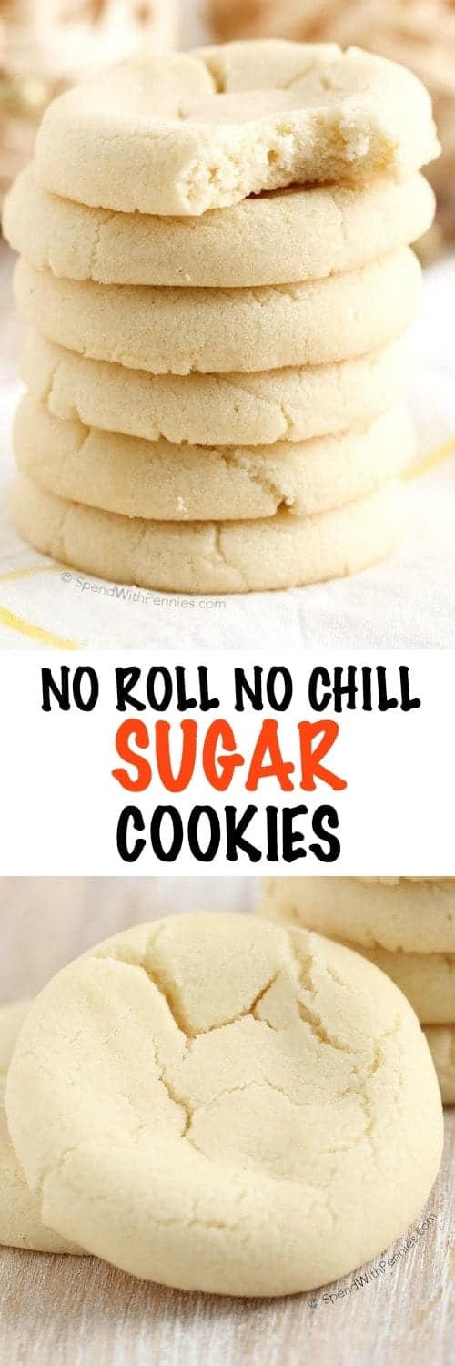 These easy no roll Sugar Cookies are a cinch to make! Simply mix the ingredients together and bake, no chilling, no rolling pins and no messy floured counters!
