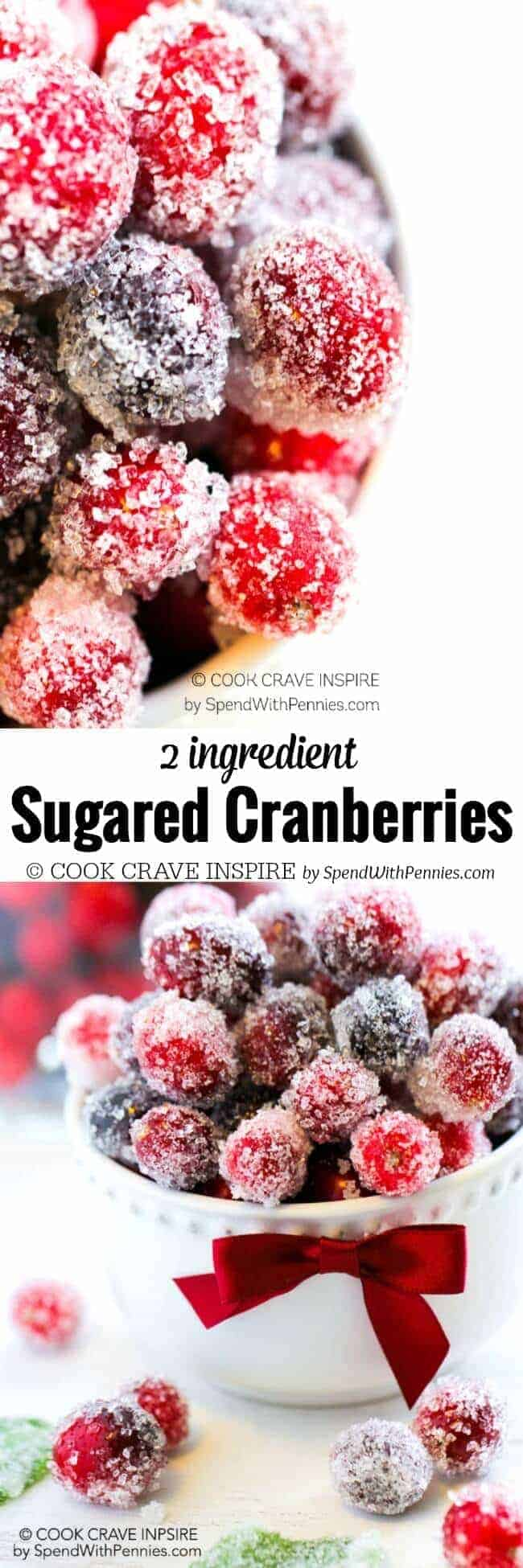 2 Ingredient Sugared Cranberries in a bowl with writing