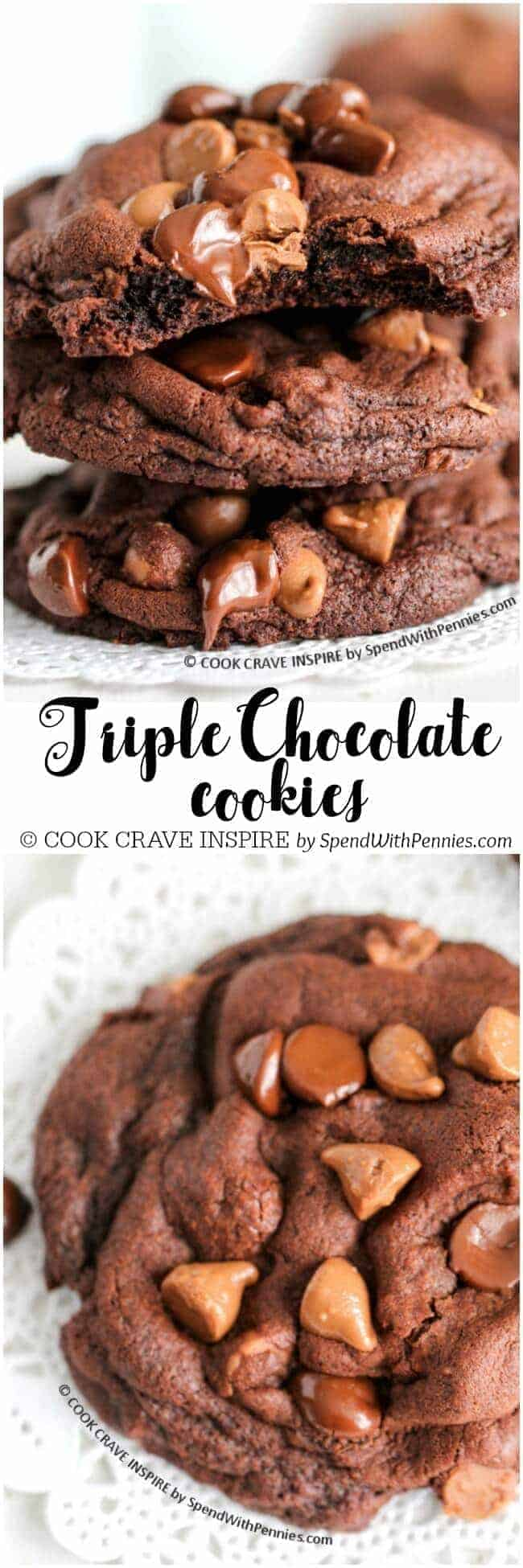 Thick soft and chewy cookies with a triple load of chocolate! Easy to make and even easier to eat, these are the best chocolate cookies ever!