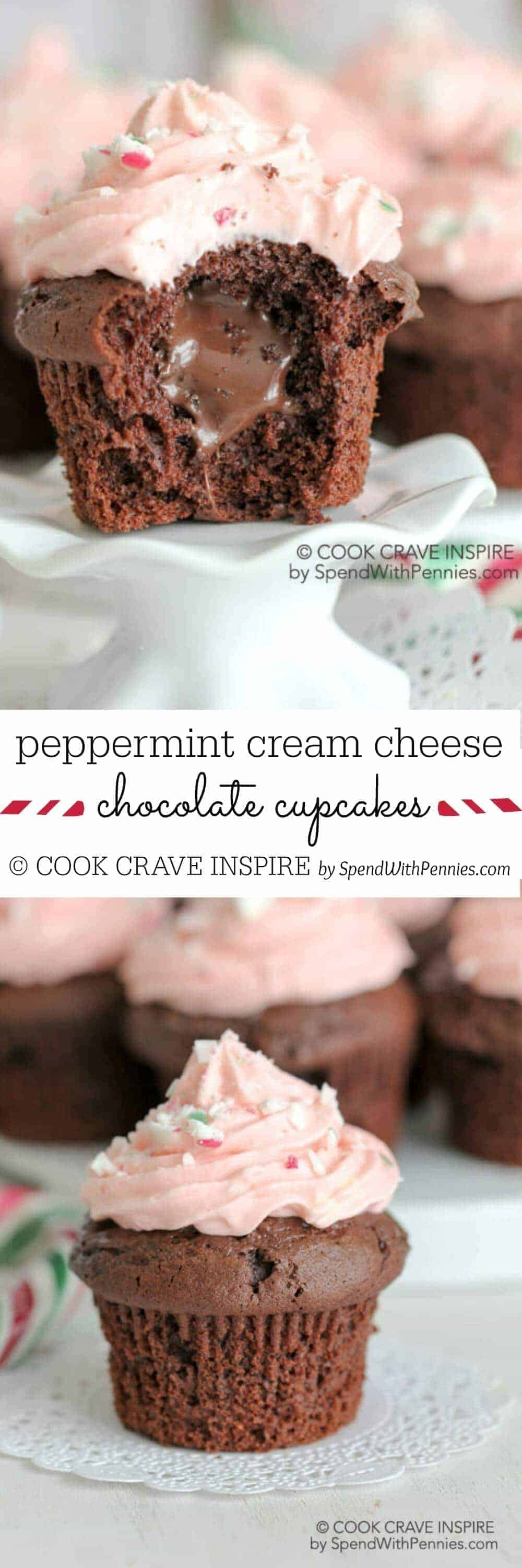 Peppermint Cream Cheese Chocolate Cupcakes with a title