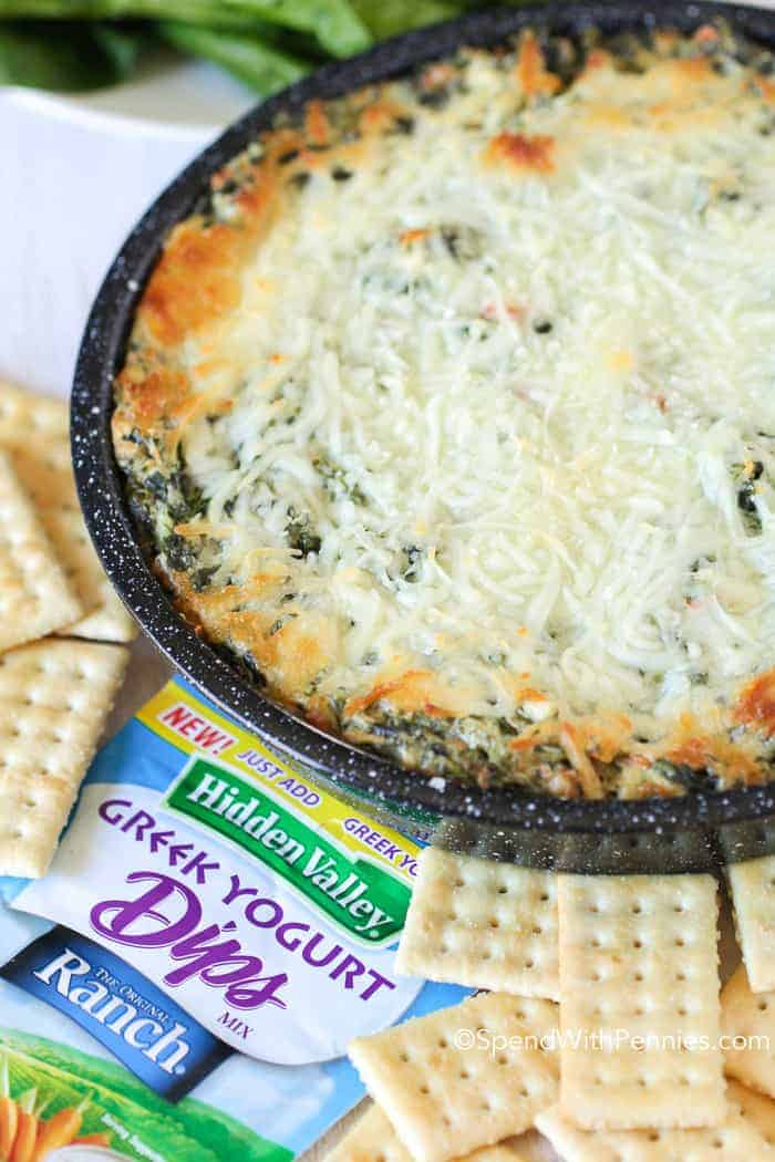 baked Spinach Dip Recipe with ranch and cheese in a baking dish