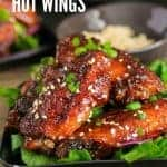 Hot Wings on a plate with green onions