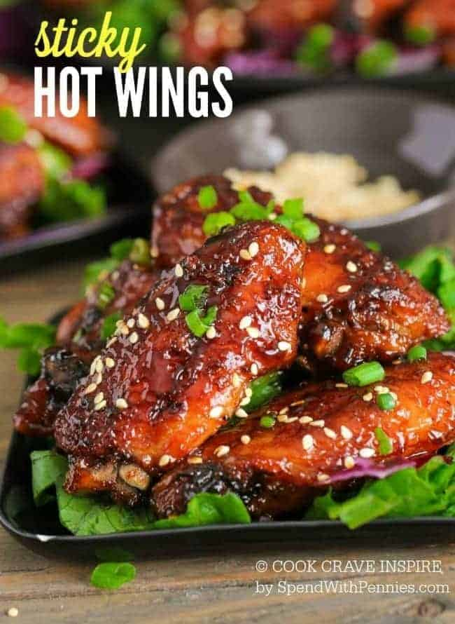 Finished Sticky Hot Wing Recipe On Black Plate