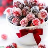 2 Ingredient Sugared Cranberries with mint leaves
