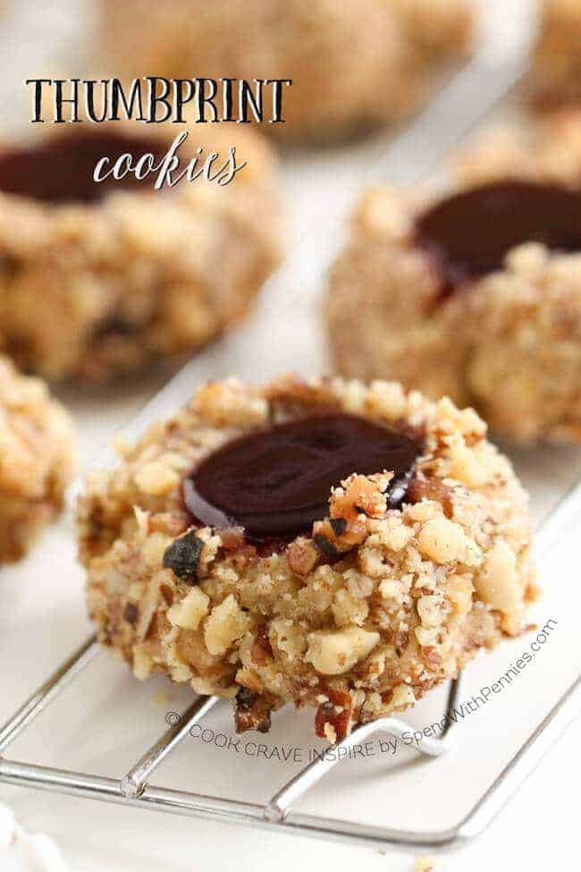 Thumbprint cookies are a classic Holiday cookie that should be on every plate! I use pecans or walnuts and fill them with seedless raspberry and mint jelly!