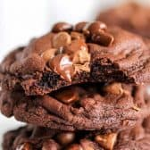 Triple Chocolate Cookies With melted Chocolate Chips on top