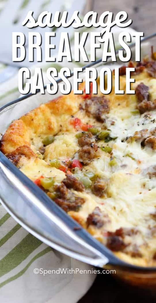 Overnight Sausage Breakfast Casserole is the perfect make ahead breakfast for guests or holidays! It's loaded with sausage, peppers, seasonings and cheese. #spendwithpennies #sausagerecipe #sausagecasserole #breakfastcasserole #sausagebreakfascasserole #overnightbreakfastrecipe #stratarecipe #sausagestrata
