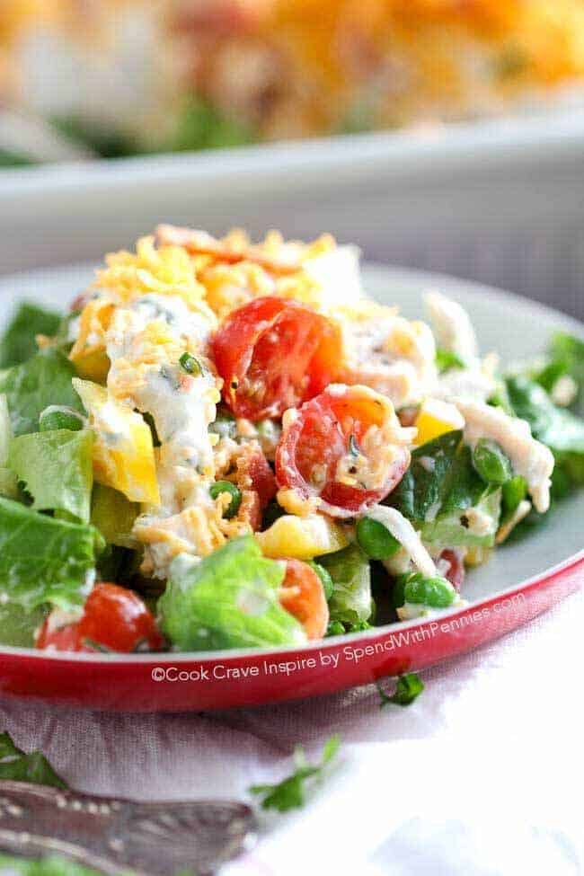 Single Serving of Seven Layer Salad on Red Plate