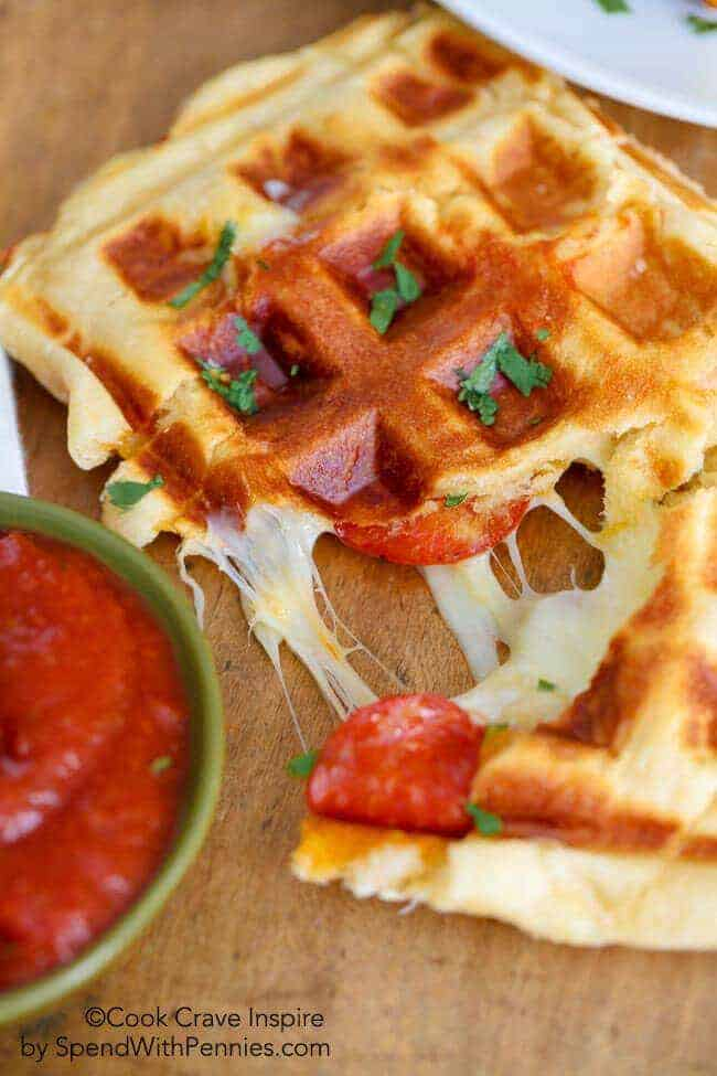 PIZZA WAFFLES with sauce in a bowl