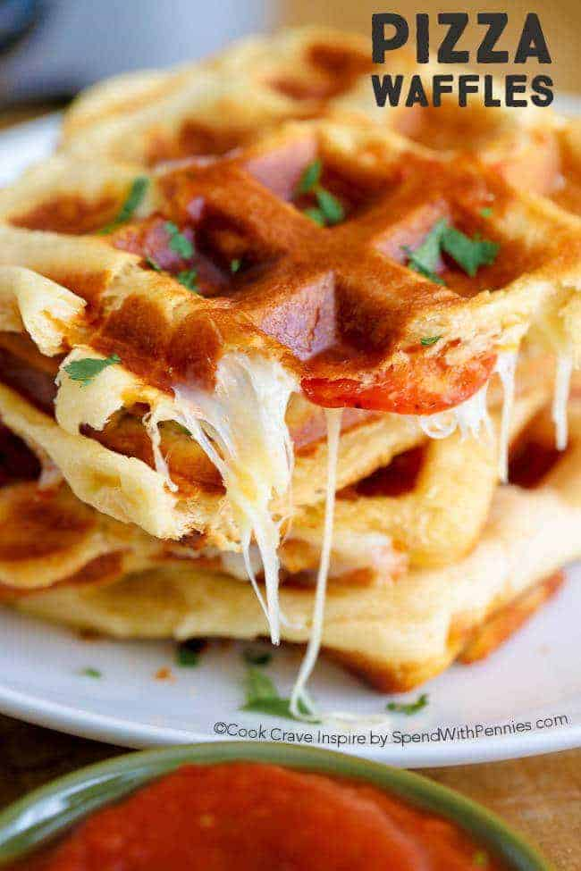 Close up of PIZZA WAFFLES on a white plate