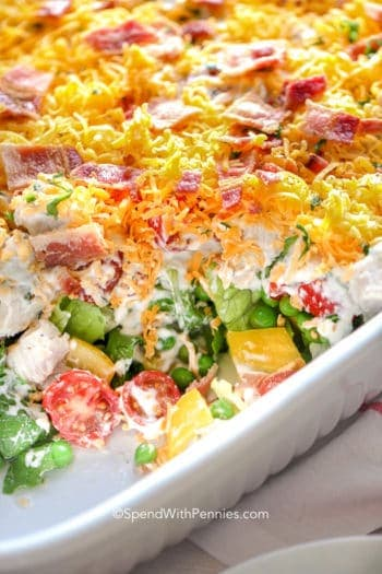 Ranch 7 Layer Salad in a white bowl