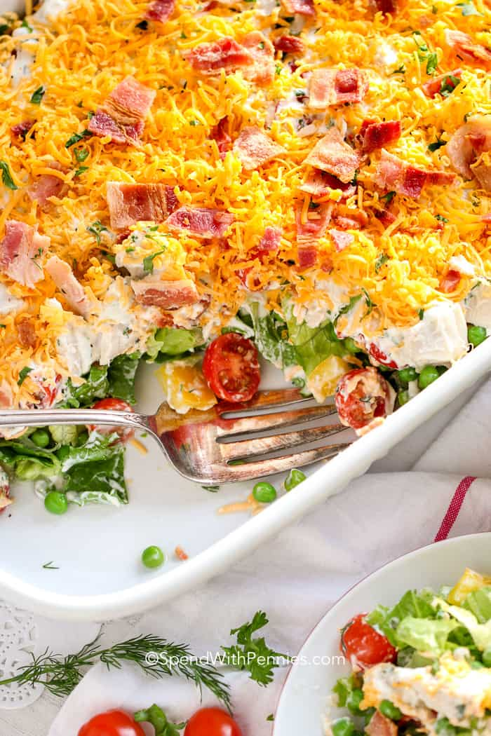 Ranch 7 Layer Salad with a fork