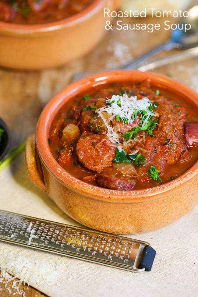 Roasted tomato and sausage soup in a bowl