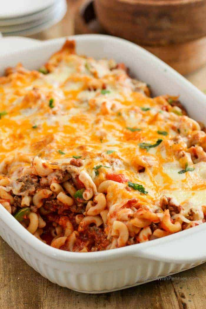 cheese and beef macaroni casserole in dish ready to serve
