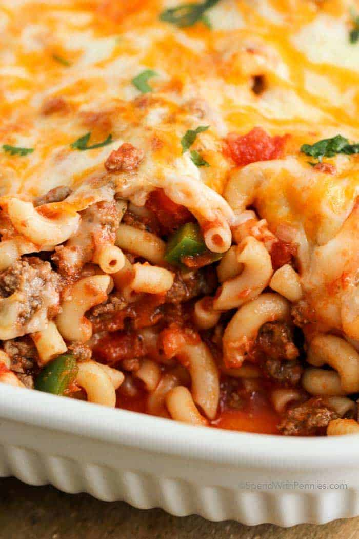 Cheesy Beef and Macaroni Casserole with a serving removed from the casserole dish