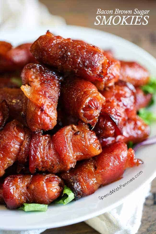 These bacon wrapped smokies with brown sugar make a great appetizer! They are easy to make and can easily be made ahead of time & they freeze well!