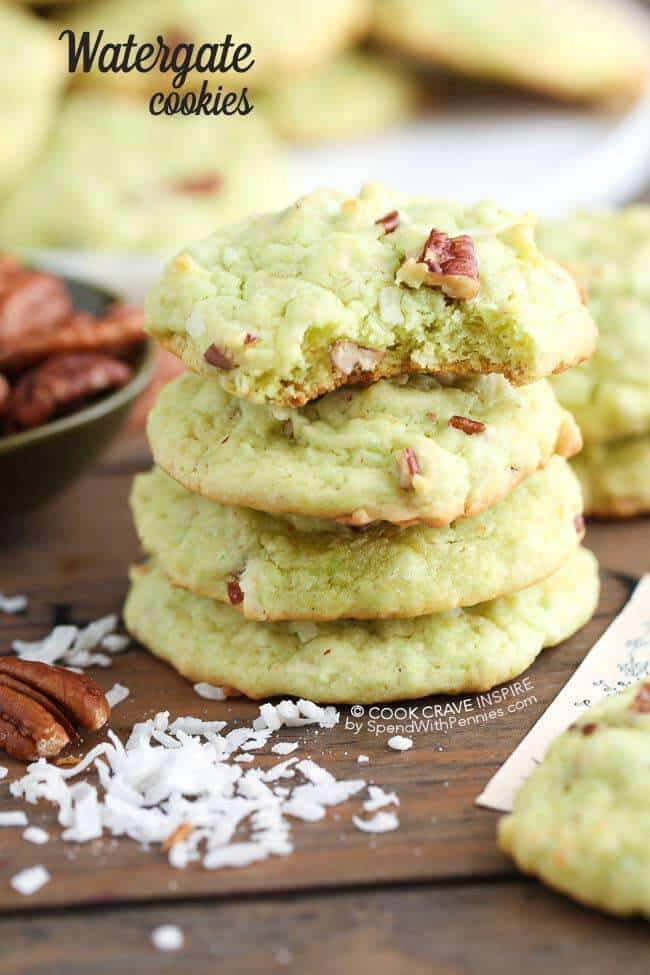 Light green Watergate Cookies on a wooden board