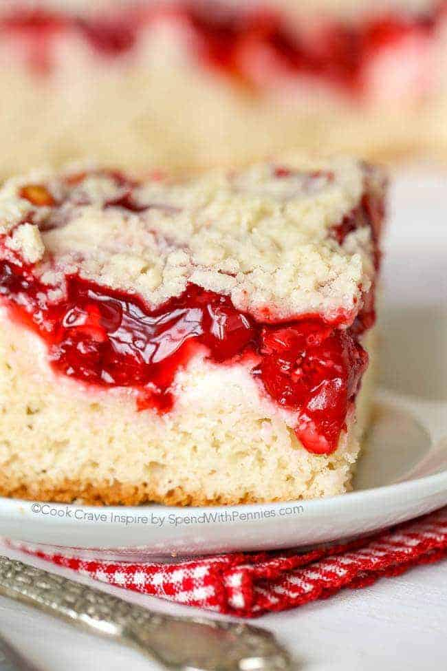 Cherry Cheesecake Coffee Cake with a checkered napkin