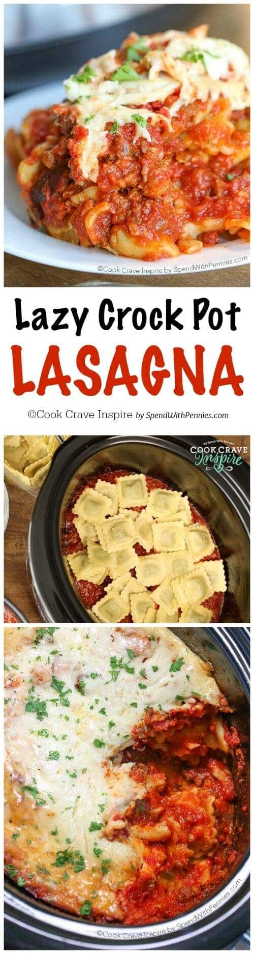 Lazy Crock Pot Lasagna on a plate and in the slow cooker with a title