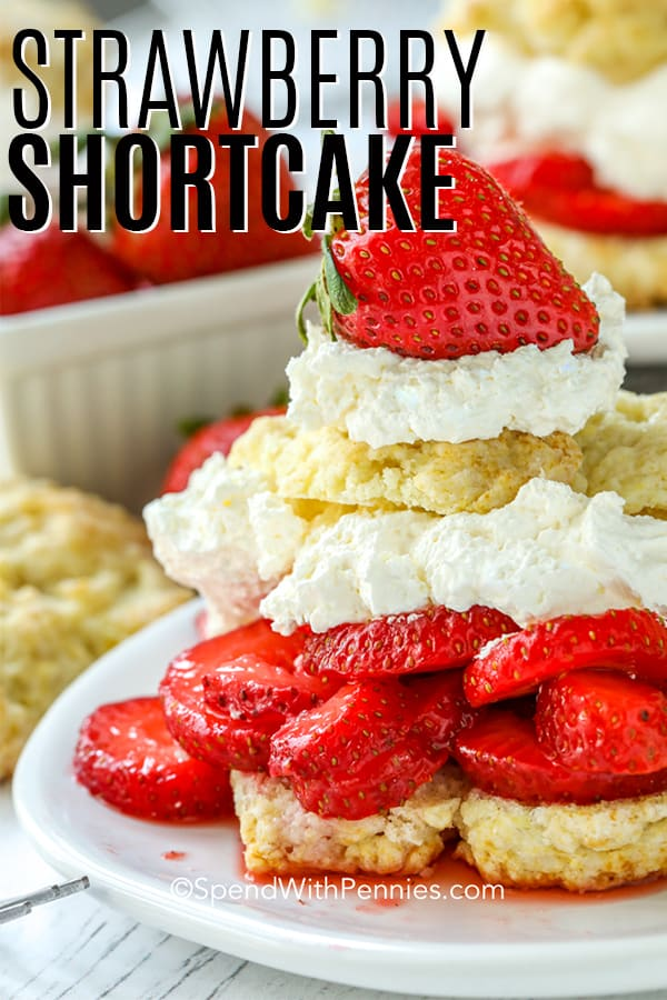 Strawberry Shortcake on a white plate with a title