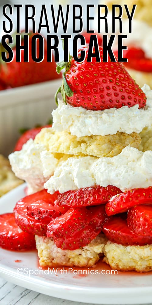 Strawberry Shortcake on a plate with a title