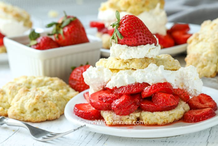 A strawberry shortcake on a plate.