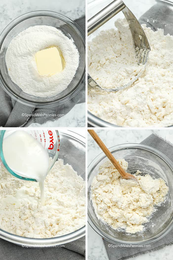 Four image showing the biscuit dough being prepared.