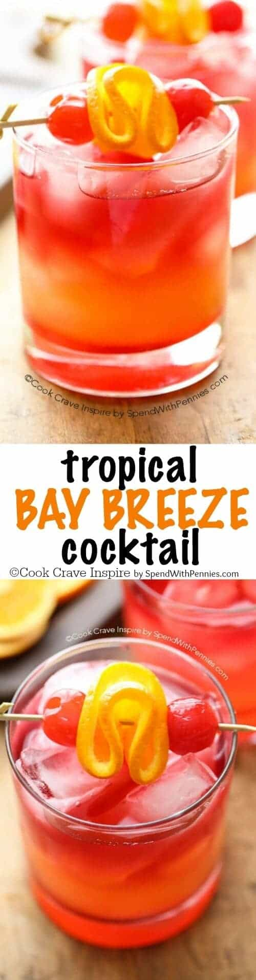 Tropical Bay Breeze Cocktail with a title