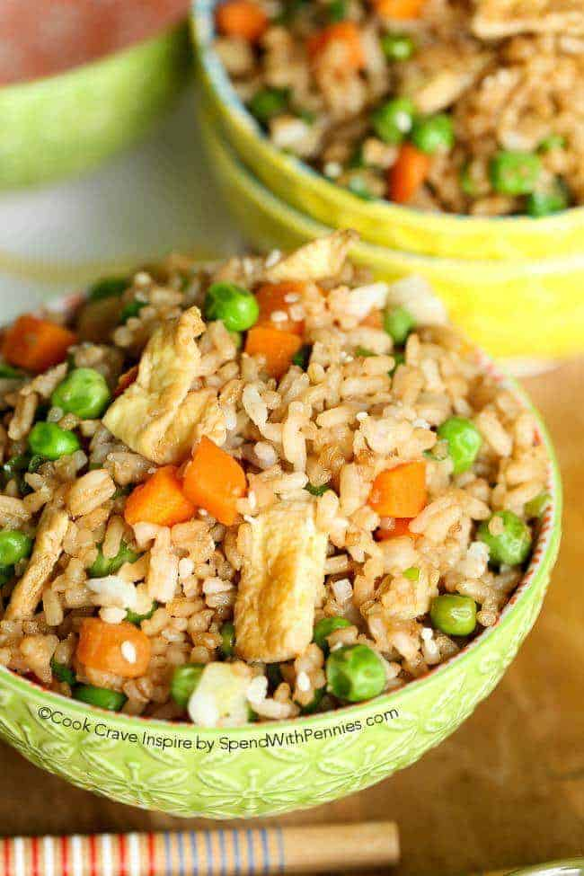 quick & easy fried rice served in green and yellow bowls